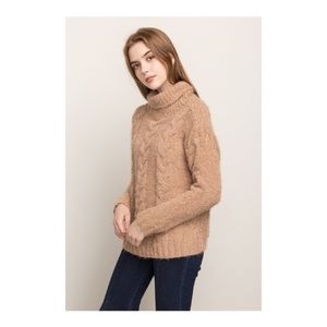 Sweaters - Turtleneck Cable Knit Pullover
